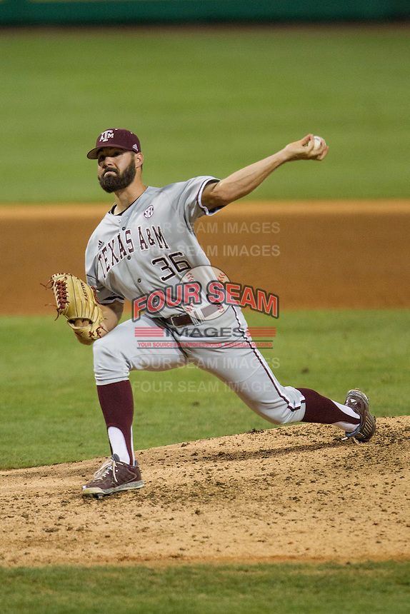 Texas A&M Aggies pitcher Ty Schlottmann(36) delivers a pitch to the plate during a Southeastern Conference baseball game against the LSU Tigers on April 23, 2015 at Alex Box Stadium in Baton Rouge, Louisiana. LSU defeated Texas A&M 4-3. (Andrew Woolley/Four Seam Images)