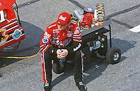 Dale Earnhardt Jr. waits to qualify for his first Daytona 500, Daytona International Speedway, Daytona Beach, FL, February 2000.  (Photo by Brian Cleary/www.bcpix.com)