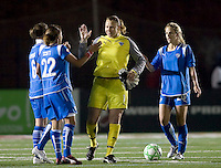 Boston Breakers goalkeeper Kristin Luckenbill (1) celebrates victory with teammates. The Boston Breakers defeated Saint Louis Athletica, 2-0, at Harvard Stadium on April 11, 2009.