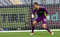 LOS ANGELES, CA - OCTOBER 25: Pablo Sisniega #23 goalkeeper of LAFC during a game between Los Angeles Galaxy and Los Angeles FC at Banc of California Stadium on October 25, 2020 in Los Angeles, California.
