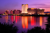 The Colorado River flows in front of Laughlin, Nevada