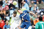 Getafe's Stefan Scepovic (r) and Real Madrid's Nacho Fernandez during La Liga match. April 16,2016. (ALTERPHOTOS/Acero)
