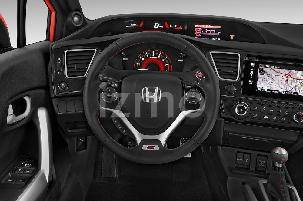Car pictures of steering wheel view of a 2015 Honda Civic Si Coupe SI 2 Door  Steering Wheel