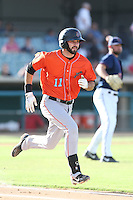Anthony Bemboom #11 of the Inland Empire 66ers runs to first base during a playoff game against the Lancaster JetHawks at The Hanger on September 7, 2014 in Lancaster, California. Lancaster defeated Inland Empire, 5-2. (Larry Goren/Four Seam Images)