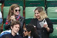 Sarah Suco and Marilou Berry watching tennis during Roland Garros tennis open 2016 on may 29 2016.