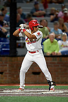 Johnson City Cardinals second baseman Donivan Williams (3) at bat during a game against the Danville Braves on July 28, 2018 at TVA Credit Union Ballpark in Johnson City, Tennessee.  Danville defeated Johnson City 7-4.  (Mike Janes/Four Seam Images)