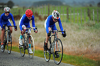 St Kentigern year 7 and 8 boys in action during the NZ Schools Road Cycling championship day one team time trials at Koputaroa Road, Levin, New Zealand on Saturday, 27 September 2014. Photo: Dave Lintott / lintottphoto.co.nz