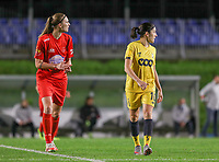 Woluwe's Marie Bougard (10) (L) and Standard's Noemie Gelders (10) (R) pictured during a female soccer game between FC Femina WS Woluwe and Standard Femina de Liege on the fourth match day of the 2020 - 2021 season of Belgian Womens Super League , Friday 8th of October 2020  in Liege , Belgium . PHOTO SPORTPIX.BE | SPP | SEVIL OKTEM