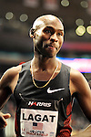 Bernard Lagat after losing to Silas Kiplagat in the men's one mile run at the first U.S. Open on January 29, 2012 at Madison Square Garden in New York, New York.  (Bob Mayberger/Eclipse Sportswire)