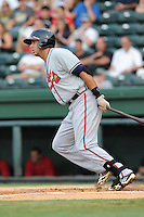 First baseman Edison Sanchez (2) of the Rome Braves in a game against the Greenville Drive on Thursday, August 22, 2013, at Fluor Field at the West End in Greenville, South Carolina. Rome won, 7-3. (Tom Priddy/Four Seam Images)