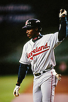 Kenny Lofton of the Cleveland Indians during a game against the Anaheim Angels at Angel Stadium circa 1999 in Anaheim, California. (Larry Goren/Four Seam Images)