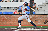Danville Braves shortstop Kevin Maitan (26) swings at a pitch during a game against the  Johnson City Cardinals at TVA Credit Union Ballpark on July 23, 2017 in Johnson City, Tennessee. The Cardinals defeated the Braves 8-5. (Tony Farlow/Four Seam Images)