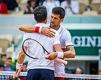 Paris, France, 01 June, 2018, Tennis, French Open, Roland Garros, Novak Djokovic (SRB) celebrates his win over Batista Agut (ESP)<br /> Photo: Henk Koster/tennisimages.com