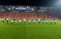 BREDA, NETHERLANDS - NOVEMBER 27: The USWNT lines up for the national anthem before a game between Netherlands and USWNT at Rat Verlegh Stadion on November 27, 2020 in Breda, Netherlands.
