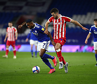 16th March 2021; Cardiff City Stadium, Cardiff, Glamorgan, Wales; English Football League Championship Football, Cardiff City versus Stoke City; Leandro Bacuna of Cardiff City is challenged by Tommy Smith of Stoke City