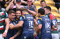 29th May 2021; Sixways Stadium, Worcester, Worcestershire, England; Premiership Rugby, Worcester Warriors versus Leicester Tigers; Jamie Shillcock of Worcester Warriors celebrates with his team after scoring