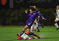 Anderlecht midfielder Kassandra Missipo (12) pictured being tackled by midfielder Ines Dhaou of Sporting Charleroi during a female soccer game between Sporting Charleroi and RSC Anderlecht on the third matchday of the 2020 - 2021 season of Belgian Scooore Womens Super League , friday 2 nd of October 2020  in Marcinelle , Belgium . PHOTO SPORTPIX.BE | SPP | DAVID CATRY