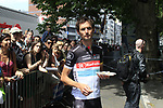 Lunch on the run for Frank Schleck (LUX) Radioshack-Nissan before the Prologue of the 99th edition of the Tour de France 2012, a 6.4km individual time trial starting in Parc d'Avroy, Liege, Belgium. 30th June 2012.<br /> (Photo by Eoin Clarke/NEWSFILE)