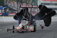 May 13, 2011; Commerce, GA, USA: NHRA top fuel dragster driver Terry McMillen during qualifying for the Southern Nationals at Atlanta Dragway. Mandatory Credit: Mark J. Rebilas-