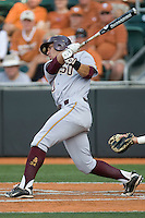 Arizona State Sun Devil third baseman Riccio Torrez #30 swings against the Texas Longhorns in NCAA Tournament Super Regional baseball on June 10, 2011 at Disch Falk Field in Austin, Texas. (Photo by Andrew Woolley / Four Seam Images)