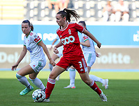 Hannah Eurlings (9) of OHL and Loredana Humartus (3) of Standard  in action during a female soccer game between Oud Heverlee Leuven and Standard Femina de Liege on the third matchday of the 2021 - 2022 season of Belgian Womens Super League , Sunday 5 th of September 2021  in Leuven , Belgium . PHOTO SPORTPIX.BE   SEVIL OKTEM