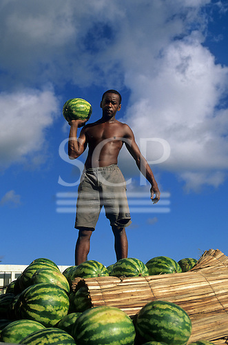 Bahia State, Brazil. Man standing above a truck full of watermelons.