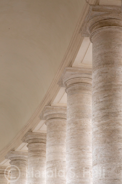 After viewing the incredible, colorful and complex ceilings inside St. Peters Cathedral, these columns appeared to be to be the opposite, very simple and subdued.