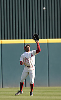 Arkansas center fielder Christian Franklin catches a fly ball Wednesday, April 7, 2021, during the third inning of the Razorbacks' 10-3 win over UALR at Baum-Walker Stadium in Fayetteville. Visit nwaonline.com/210408Daily/ for today's photo gallery. <br /> (NWA Democrat-Gazette/Andy Shupe)