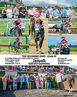 Jaywalk winning The Delaware Oaks at Delaware Park on 7/6/19<br /> To see another version of this search: Jaywalk, winphoto