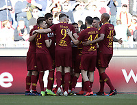 Football, Serie A: AS Roma - Cagliari, Olympic stadium, Rome, April 27, 2019. <br /> in action with during the Italian Serie A football match between AS Roma and Cagliari, on April 27, 2019. <br /> UPDATE IMAGES PRESS/Isabella Bonotto