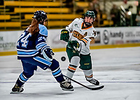 30 November 2018: University of Vermont Catamount Defender Taylor Flaherty, a Senior from Lakeville, MN, takes a shot on goal in second period action against the University of Maine Black Bears at Gutterson Fieldhouse in Burlington, Vermont. The Lady Cats were edged out by the Bears 2-1 in the first game of their 2-game Hockey East series. Mandatory Credit: Ed Wolfstein Photo *** RAW (NEF) Image File Available ***