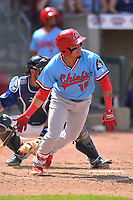 Peoria Chiefs shortstop Rayder Ascanio (18) swings at a pitch against the Cedar Rapids Kernels at Veterans Memorial Stadium on June 17, 2018 in Cedar Rapids, Iowa. The Chiefs won 12-3.  (Dennis Hubbard/Four Seam Images)
