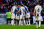 Players of RCD Espanyol celebrate goal during La Liga match between Atletico de Madrid and RCD Espanyol at Wanda Metropolitano Stadium in Madrid, Spain. November 10, 2019. (ALTERPHOTOS/A. Perez Meca)