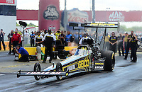 Sept 9, 2012; Clermont, IN, USA: NHRA top fuel dragster driver Morgan Lucas during the US Nationals at Lucas Oil Raceway. Mandatory Credit: Mark J. Rebilas-