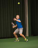 Rotterdam, The Netherlands, 07.03.2014. NOJK ,National Indoor Juniors Championships of 2014, Joris van der Velden (NED)    Daan Hendriks (NED)<br /> Photo:Tennisimages/Henk Koster