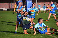 Southern's Iritana Hohaia celebrates scoring the matchwinning try during the 2021 Taranaki Women's Rugby premier final between Clifton and Southern at Clifton RFC in Tikorangi, New Zealand on Saturday, 12 June 2020. Photo: Dave Lintott / lintottphoto.co.nz