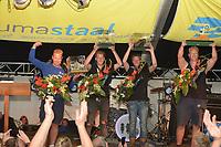 ZEILSPORT: LEMMER: 25-08-2018, Winnaars IFKS skûtsjesilen, Schipper Geale Tadema uit Eastermar kampioen met het skûtsje 'It Doarp Eastermar', Arjen de Jong skûtsje Grytse Obes kampioen B-klasse,  Pieter Jilles Tjoelker in de C-klasse skûtsje de Sterke Jerke, Age Bandstra Avontuur kampioen a-klasse klein, ©foto Martin de Jong