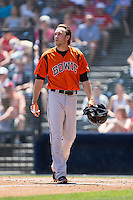 Glynn Davis (10) of the Bowie Baysox walks back to the dugout after striking out to end an inning during the game against the Richmond Flying Squirrels at The Diamond on May 24, 2015 in Richmond, Virginia.  The Flying Squirrels defeated the Baysox 5-2.  (Brian Westerholt/Four Seam Images)