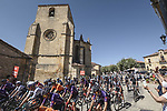 The start of Stage 3 of La Vuelta d'Espana 2021, running 202.8km from Santo Domingo de Silos to Picon Blanco, Spain. 16th August 2021.    <br /> Picture: Unipublic/Charly Lopez | Cyclefile<br /> <br /> All photos usage must carry mandatory copyright credit (© Cyclefile | Unipublic/Charly Lopez)