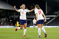 GOAL - Toni Duggan of England Women celebrates with goal scorer Fran Kirby during the Women's international friendly match between England Women and Australia at Craven Cottage, London, England on 9 October 2018. Photo by Carlton Myrie / PRiME Media Images.