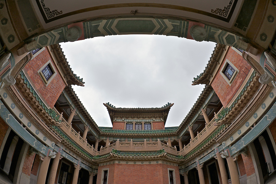 Looking-up through King Yin Lei's internal courtyard at the rear of the Mansion.