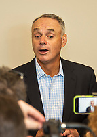 27 February 2017: Major League Baseball Commissioner Rob Manfred addresses the media prior to the inaugural Spring Training game between the Washington Nationals and the Houston Astros at the Ballpark of the Palm Beaches in West Palm Beach, Florida. The Nationals defeated the Astros 4-3 in Grapefruit League play. Mandatory Credit: Ed Wolfstein Photo *** RAW (NEF) Image File Available ***