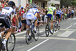The breakaway group including Jerome Pineau (FRA) Quick-Step, Daniel Oss (ITA) Liquigas-Doimo, Benoit Vaugrenard (FRA) FDJ and Matti Breschel (DEN) Saxo Bank pass through the village of Sabres during Stage 18 of the 2010 Tour de France running 198km from Salies-de-Bearn to Bordeaux, France. 23rd July 2010.<br /> (Photo by Eoin Clarke/NEWSFILE).<br /> All photos usage must carry mandatory copyright credit (© NEWSFILE | Eoin Clarke)