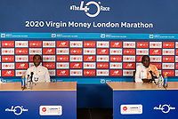 Kenenisa Bekele (ETH) (left) and Eliud Kipchoge (KEN) (right) speak to the media via Zoom in a virtual and socially distanced press conference from inside the official hotel [location not disclosed] and biosecure bubble for the historic elite-only 2020 Virgin Money London Marathon on Sunday 4 October. The 40th Race will take place on a closed-loop circuit around St James's Park in central London. Wednesday 30th September 2020. Photo: Bob Martin for London Marathon Events<br /> <br /> For further information: media@londonmarathonevents.co.uk