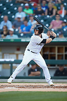 Preston Tucker (3) of the Charlotte Knights at bat against the Toledo Mud Hens at BB&T BallPark on April 24, 2019 in Charlotte, North Carolina. The Knights defeated the Mud Hens 9-6. (Brian Westerholt/Four Seam Images)