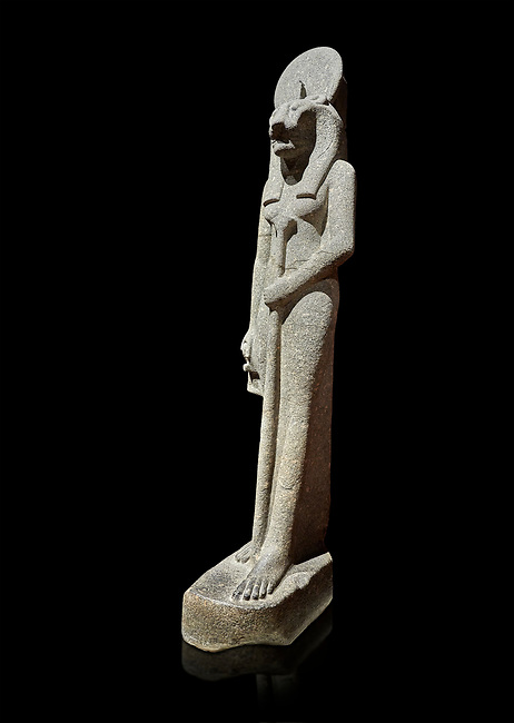 """Ancient Egyptian statue of goddess Sekhmet, grandodiorite, New Kingdom, 18th & 20thDynasty (1390-1150 BC), Thebes. Egyptian Museum, Turin. black background.<br /> <br /> This statue is unfinished and is in the stage before polishing. Sekhmet, """"the Powerful One"""" was a fearsome goddess symbolised by her lioness head. Daughter of the sun she personifies the disk of the world during the day. Sekhmet is the angry manifestation of Hathor inflicting the scourges of summer heat, famine and illness which is why the goddess needed to be exorcised every day. Drovetti Collection. C 264"""