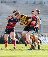 Monday 27th February 2017 | ULSTER SCHOOLS CUP SEMI-FINAL<br /> <br /> Callum Reid is tackled by Michael Stronge during the Ulster Schools Cup Semi-Final between RBAI and Ballymena Academy  at Kingspan Stadium, Ravenhill Park, Belfast, Northern Ireland. <br /> <br /> Photograph by John Dickson | www.dicksondigital.com