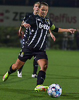 Alysson Duterne (14) of Sporting du Pays de Charleroi pictured during a female soccer game between Sporting Charleroi and Club Brugge YLA on the sixth matchday in the 2021 - 2022 season of Belgian Scooore Womens Super League , friday 8 October 2021 in Marcinelle , Belgium . PHOTO SPORTPIX   STIJN AUDOOREN