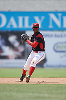 Batavia Muckdogs shortstop Marcos Rivera (8) throws to first base during a game against the West Virginia Black Bears on June 25, 2017 at Dwyer Stadium in Batavia, New York.  West Virginia defeated Batavia 6-4 in the completion of the game started on June 24th.  (Mike Janes/Four Seam Images)