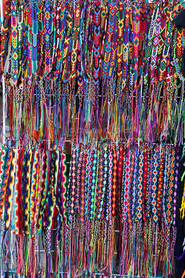 Braided Bracelets for Sale, Playa del Carmen, Quintana Roo, Yucatan, Mexico.